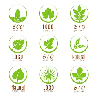 Ecology labels with green leaves on white