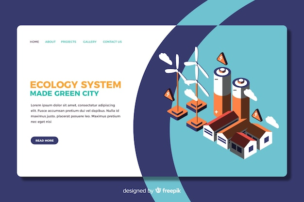 Ecology landing page isometric design
