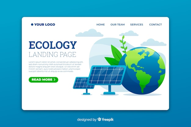Ecology landing page template with solar panels
