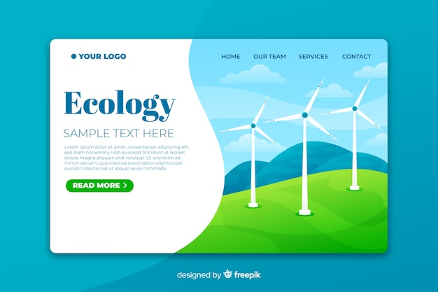 Ecology landing page template with wind turbines