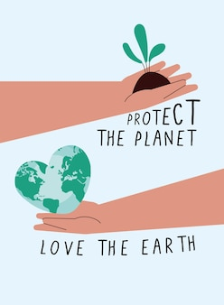 Ecology letterings campaigns with hands