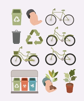 Ecology lifestyle set icons