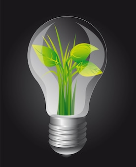 Ecology light bulb over black background vector illustration