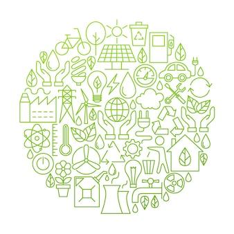 エコロジーラインアイコンサークルデザイン。グリーン電力と環境オブジェクトのベクトル図です。