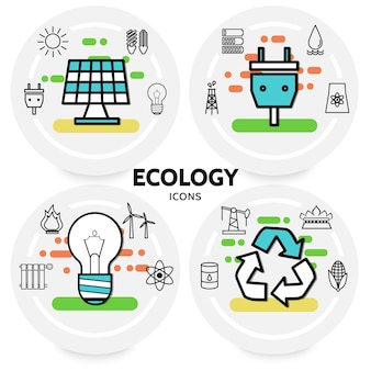 Ecology line icons concept with solar panel plug socket sun bulbs trash battery radiator windmill oil