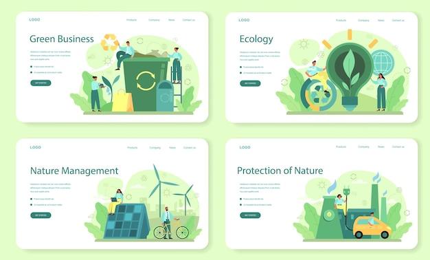 생태 또는 환경 친화적 인 비즈니스 웹 배너 또는 방문 페이지 세트
