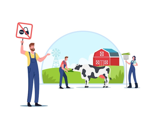 Ecology oriented cattle growing, eco farming. characters signing petition for animal husbandry free from antibiotics or hormones and sustainable organic agriculture. cartoon people vector illustration