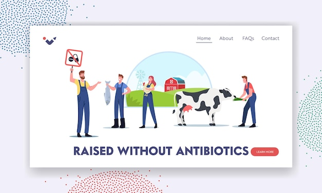 Ecology oriented farming landing page template. eco cattle growing, farming or agriculture. farmer characters for animal husbandry free from antibiotics or hormones. cartoon people vector illustration