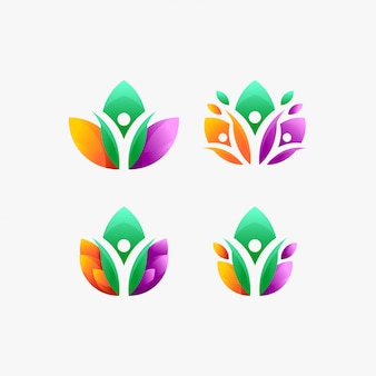 Ecology people leaf healthy icons