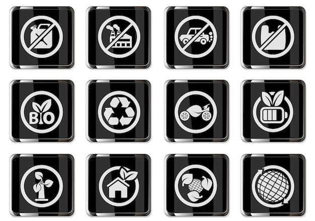ブラッククロームボタンのエコロジーピクトグラム。ユーザーインターフェイスデザインのアイコンセット