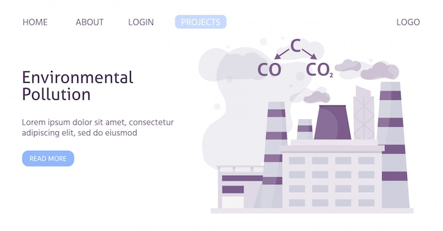 Ecology of polluted industrial city with chemical formula of air polution flat web template illustration.