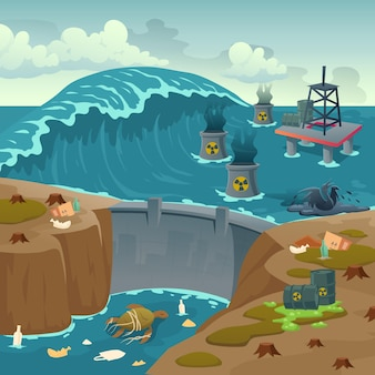 Ecology pollution, oil derrick in polluted ocean and barrels with toxic liquid floating on dirty sea water surface with dam and dying animals, rubbish, ecological problem, cartoon