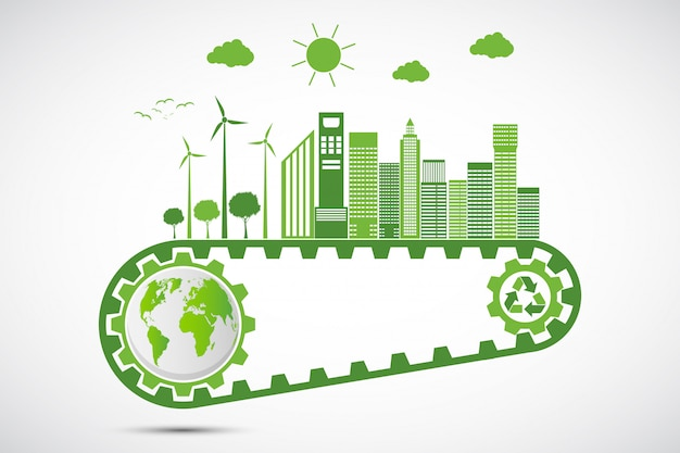 Ecology saving gear concept and environmental sustainable energy development