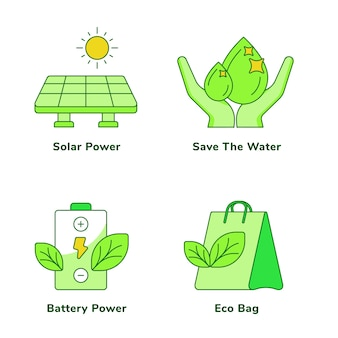 Ecology set of solar power save the water battery power