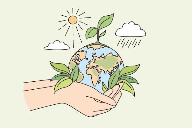 エコロジー、持続可能な自然、惑星の会話の概念。成長植物の太陽と雨の周りの世話をするベクトル図と地球惑星を保持している人間の手