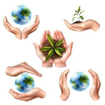 Ecology symbols with realistic hands