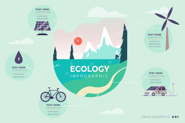 Ecology theme for infographic with retro colors
