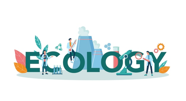Ecology typographic header concept. scientist taking care of nature and environment. air, soil and water protection. professional ecological activist.