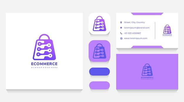 Шаблон логотипа электронной коммерции и технологии и визитная карточка