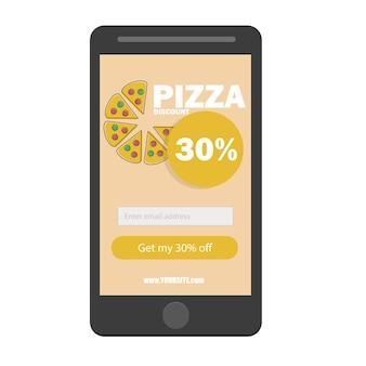 전자 상거래 개념은 온라인으로 패스트 푸드를 주문합니다. 화면에 피자와 버튼이 있는 스마트폰. 광고, 웹 사이트, 배너 디자인을 위한 벡터 평면 만화 그림입니다. 할인된 배송 서비스