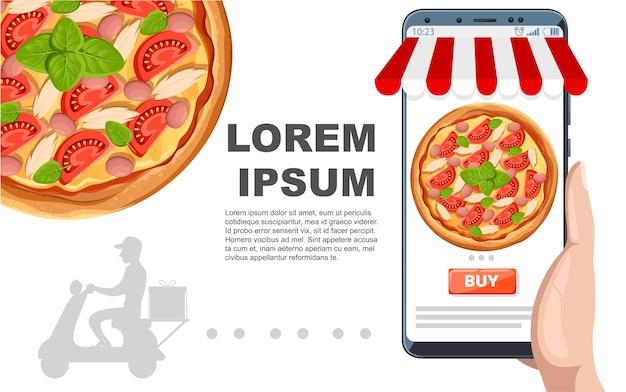 Концепция электронной коммерции, заказ еды онлайн. онлайн сервис доставки пиццы фастфуд. плоский рисунок на белом фоне. рекламный флаер или дизайн поздравительной открытки.