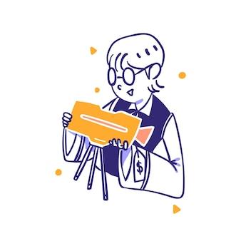 Ecommerce customer buy camera photography equipment  item illustration  outline hand drawn style