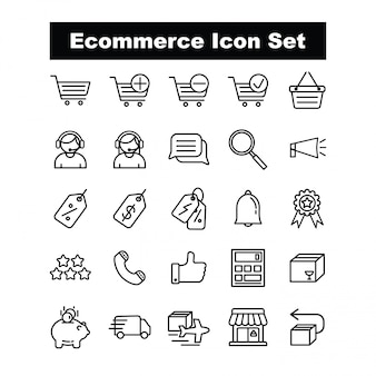 Ecommerce icon set vector - line style