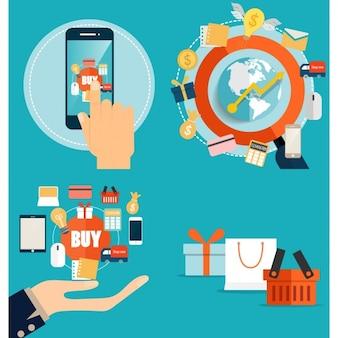 Электронная торговля инфографики элементы