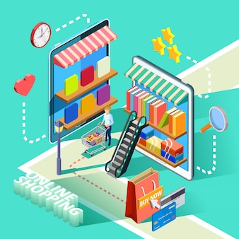 Ecommerce online shopping isometric design poster