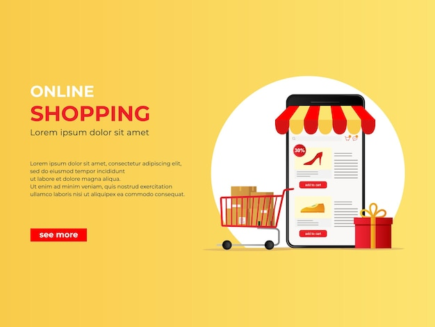 Ecommerce shopping concept banner with mobile phone online shopping illustration