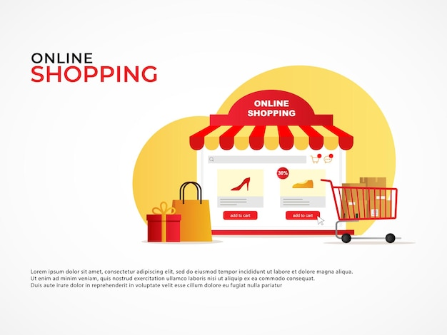 Ecommerce shopping concept banner with online shop application resembles a co