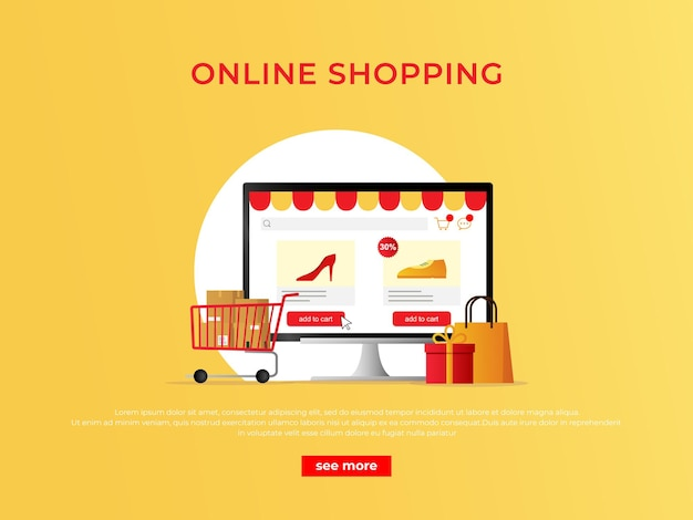Ecommerce shopping concept banner with online shop on computer monitor