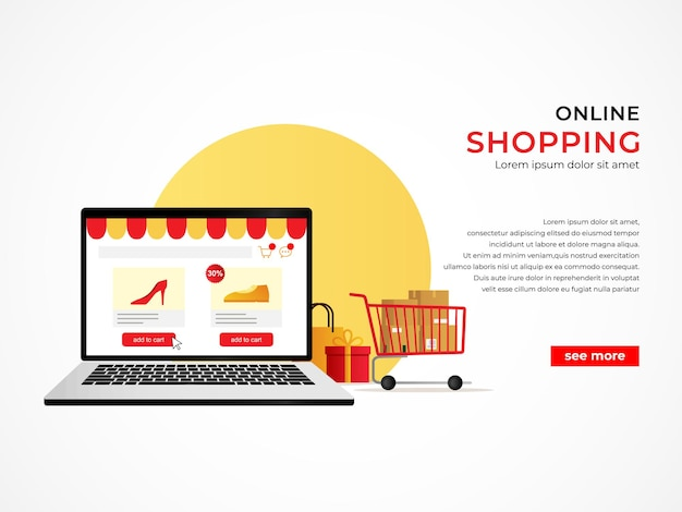 Ecommerce shopping concept banner with online shop on laptop illustration