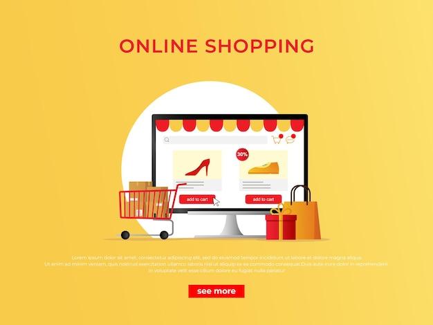 Баннер концепции покупок электронной коммерции с интернет-магазином на мониторе компьютера