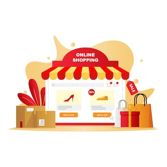 Ecommerce shopping illustration with online shop application resembles a conventional store