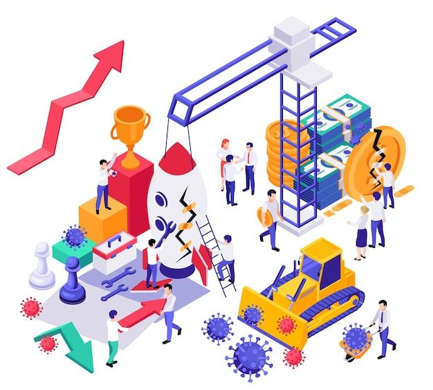 Изометрическая композиция для восстановления экономического бизнеса с изображением столбового крана и ракеты, денежных вирусов и человеческих персонажей