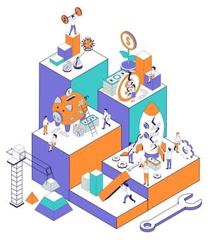 Composizione isometrica nel recupero economico di affari con l'insieme delle piattaforme alte con l'illustrazione delle monete dei contenitori di soldi dei caratteri umani