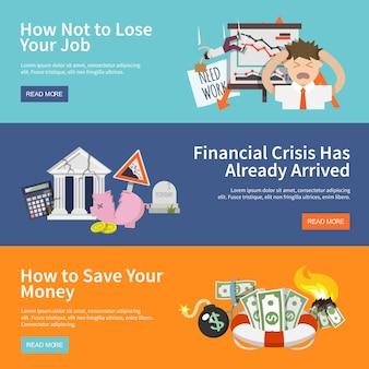 Economic crisis banners