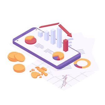 Economic crisis isometric vector illustration