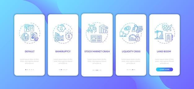 コンセプトを備えたモバイルアプリページ画面のオンボーディング経済危機。世界的な経済的および社会的緊急事態は、5つのステップのグラフィックの指示をウォークスルーします。 rgbカラーイラストとuiベクトルテンプレート。