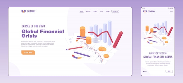 Economic crisis web page and onboarding screen template.