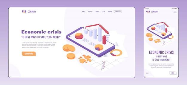 Economic crisis web page and onboarding screen template