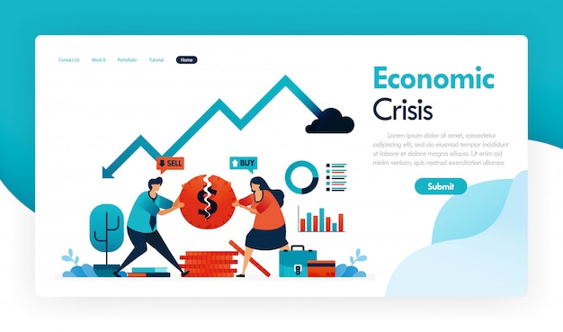 Economic crisis with falling gdp and rising inflation, financial strategy and banking in recession, broken coins, finance analysis  graph, statistics chart.