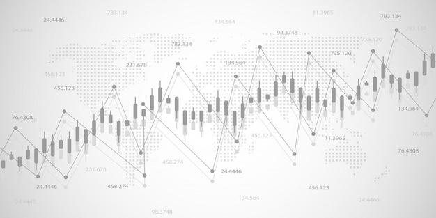 Экономический график с графиками на фондовом рынке Premium векторы