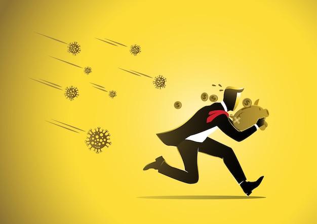 Economic impact of corona virus covid19 scared businessman with piggy bank running from virus