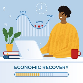 Economic recovery concept after crisis. man works at laptop and looks at the graph of economic growth. illustration in flat style.