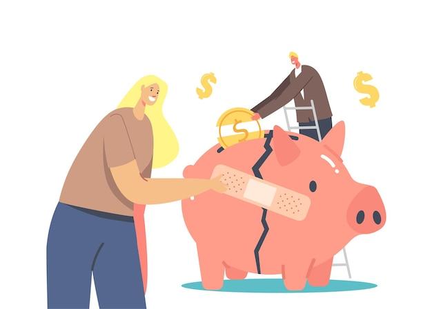 경제 회복 개념입니다. 사업가 캐릭터는 글로벌 위기 동안 생존하려고 합니다. 깨진 돼지 저금통에 사업가 스틱 패치, 남자는 돈 상자에 동전을 넣어. 만화 벡터 일러스트 레이 션