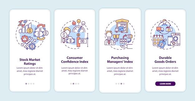 모바일 앱 페이지 화면 개념을 온 보딩하는 경제 회복 지표. 시장 관찰자가 4 단계 그래픽 지침을 안내합니다. rgb 색상 삽화가있는 ui 템플릿