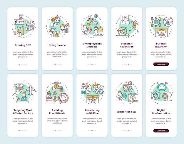 경제 회복 온 보딩 모바일 앱 페이지 화면 개념이 설정되었습니다. 건강 위험을 고려한 5 단계 그래픽 지침. rgb 색상 삽화가있는 ui 템플릿
