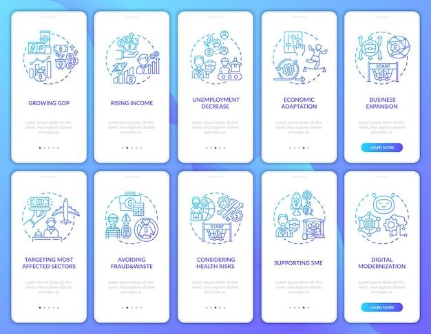 コンセプトが設定されたモバイルアプリページ画面のオンボーディング経済回復。詐欺や無駄なウォークスルーを回避する5つのステップ。 rgbカラーイラスト付きのuiテンプレート
